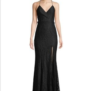 FAME AND PARTNERS Black Lupin Corded Lace Gown New